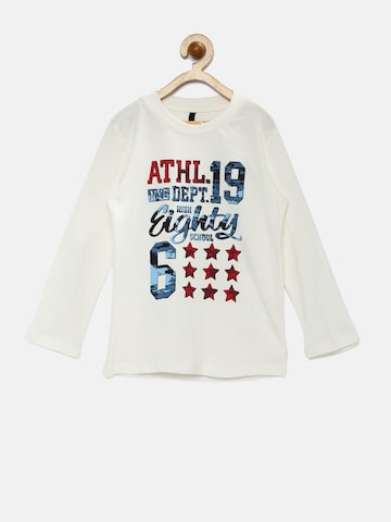 United Colors of Benetton Boys Cream-Coloured Printed T-shirt at myntra