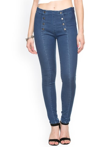 TARAMA Blue Denim Skinny Jeggings at myntra