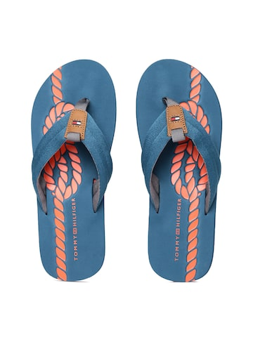 Tommy Hilfiger Men Blue Printed Flip-Flops at myntra