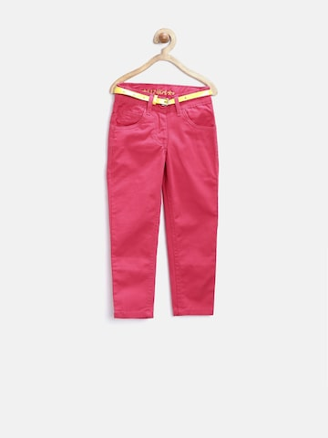 612 league Girls Pink Flat-Front Trousers at myntra