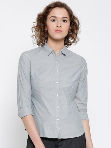 Annabelle by Pantaloons Grey & White Pinstriped Shirt at myntra