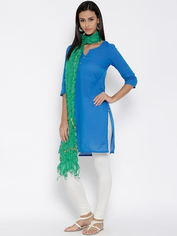 AURELIA Green Crinkled Self-Checked Dupatta at myntra