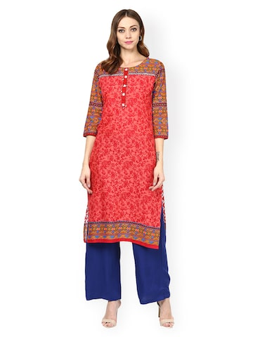 Jaipur Kurti Red Embroidered Kurta at myntra