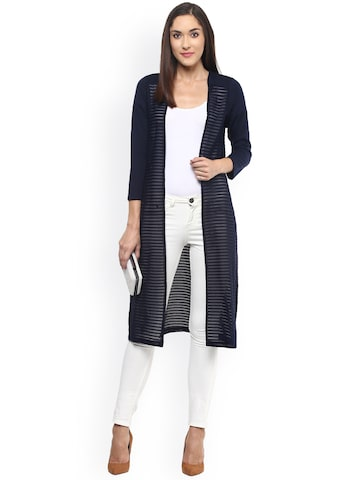 Fusion Beats Navy Self-Striped Semi-Sheer Shrug at myntra