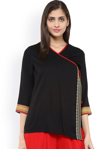Fusion Beats Black Embroidered Top at myntra