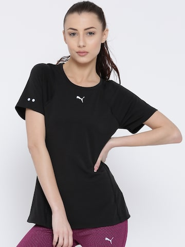 Puma Women Black Solid Round Neck T-Shirt at myntra