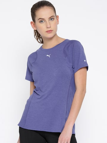 Puma Women Blue Solid Round Neck T-Shirt at myntra