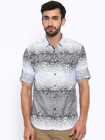 LOCOMOTIVE Men White & Black Printed Casual Shirt at myntra