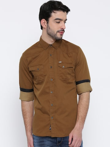 LOCOMOTIVE Men Khaki Casual Shirt at myntra