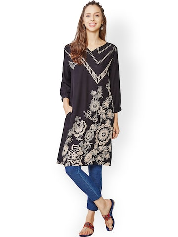 Global Desi Black Printed Kurta at myntra