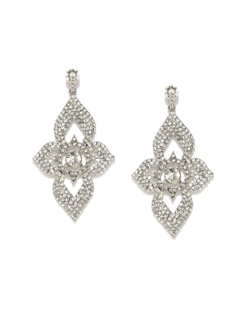 DressBerry Silver-Toned Stone-Studded Drop Earrings at myntra