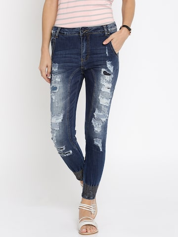 Deal Jeans Women Blue Regular Fit Mid-Rise Highly Distressed Jeans at myntra