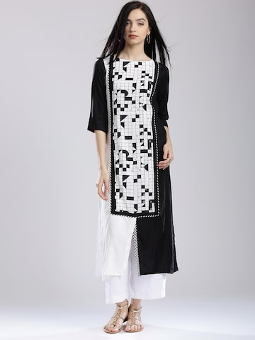 W Women White & Black Printed Kurta at myntra