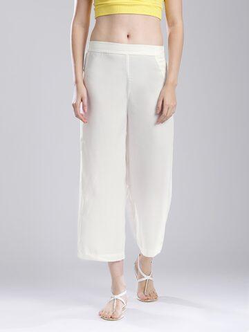 W Women White Palazzo Trousers at myntra