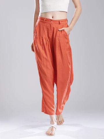 W Women Orange Ankle-Length Palazzo Trousers at myntra