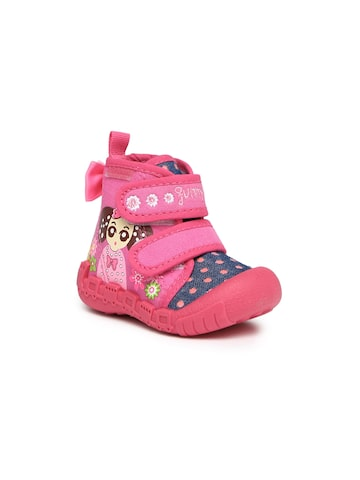 Kittens Girls Pink & Navy Printed Boots at myntra