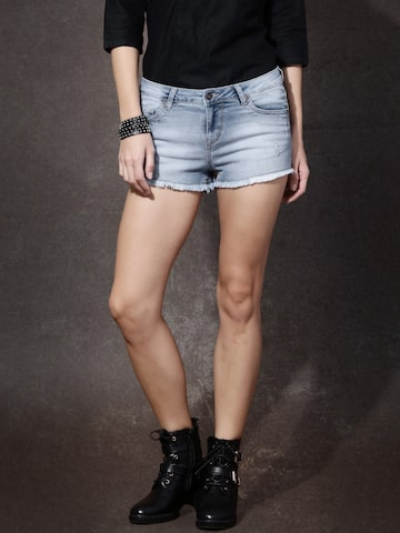 Roadster Women Blue Solid Denim Shorts at myntra