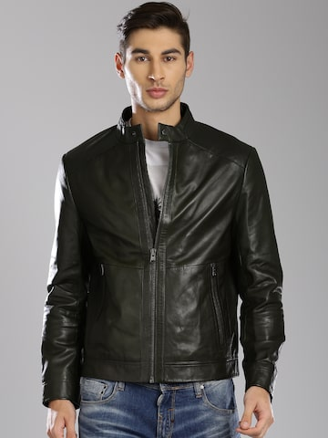 Tommy Hilfiger Olive Green Leather Jacket at myntra