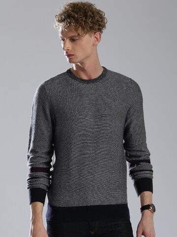 Tommy Hilfiger Men Navy Blue Sweater at myntra