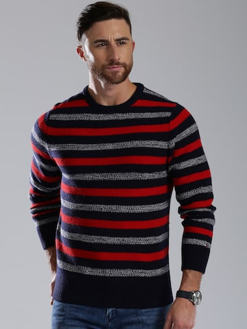 Tommy Hilfiger Men Navy Striped Sweater at myntra