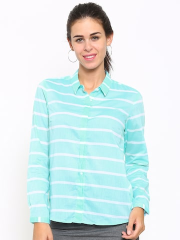 Allen Solly Woman Blue & White Striped Casual Shirt at myntra
