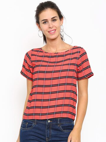 Allen Solly Woman Coral Red & Black Checked Polyester Top at myntra
