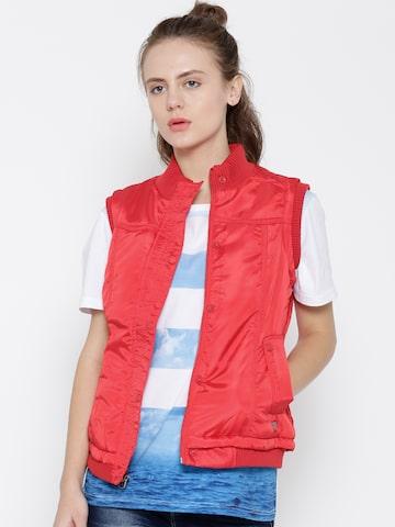 Numero Uno Red Sleeveless Jacket at myntra
