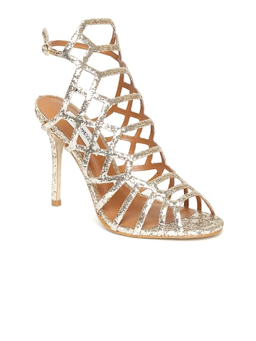Steve Madden Women Gold-Toned Solid Sandals at myntra