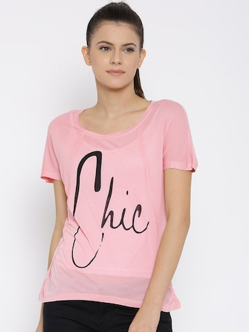 Vero Moda Women Pink Printed Round Neck T-shirt at myntra