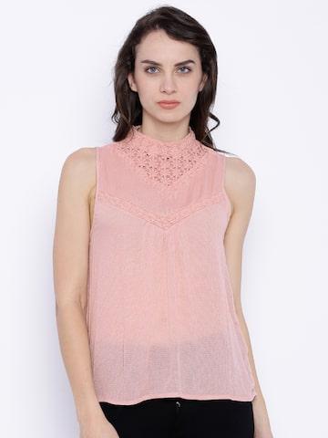 Vero Moda Women Peach-Coloured Lace Top at myntra