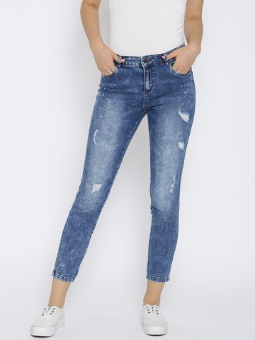 Vero Moda Blue Washed Slim Cropped Jeans at myntra