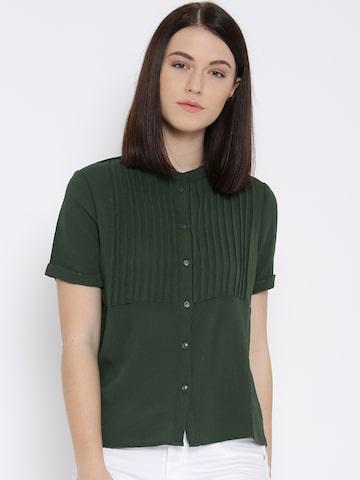 Vero Moda Women Green Regular Fit Casual Shirt at myntra