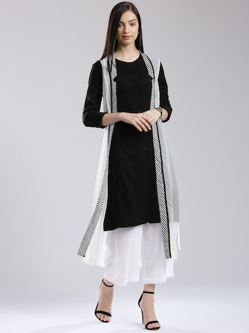 W White Polyester Striped Detail Sheer Longline Shrug at myntra