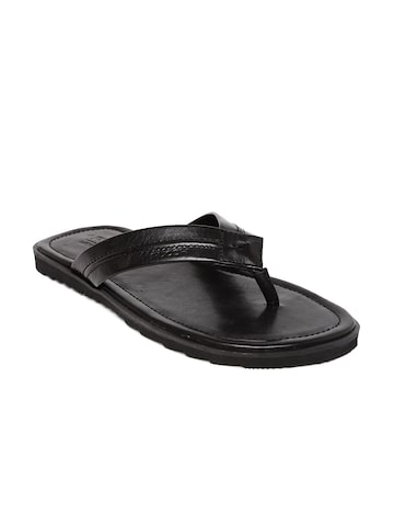 Ruosh Men Black Genuine Leather Sandals at myntra