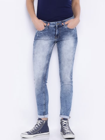 Pepe Jeans Women Blue Regular Fit Mid Rise Mildly Distressed Jeans at myntra