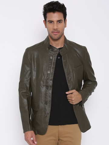 U.S. Polo Assn. Coffee Brown Faux Leather Jacket at myntra