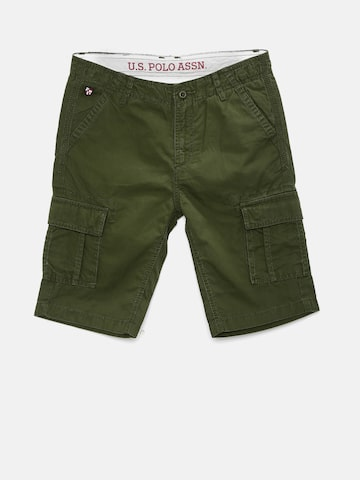 U.S. Polo Assn. Kids Boys Olive Solid Regular Fit Cargo Shorts at myntra