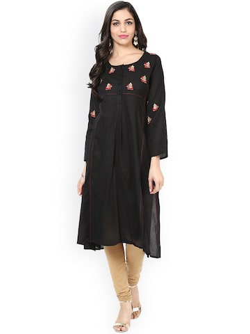 Bhama Couture Women Black Embroidered A-Line Kurta at myntra