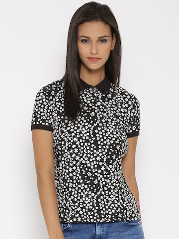 United Colors of Benetton Women Black Floral Print Polo T-Shirt at myntra