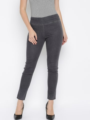 MANGO Grey Ankle-Length Jeggings at myntra