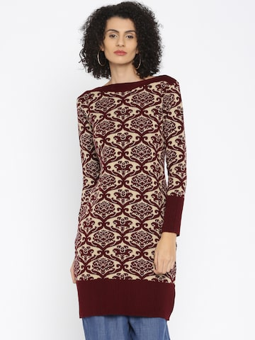 Anouk Women Maroon & Beige Woven Design Straight Kurta at myntra