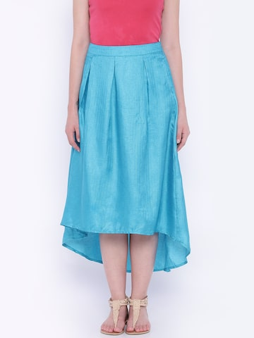 Global Desi Blue Flared High-Low Skirt at myntra