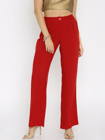 Global Desi Women Red Solid Regular Fit Flat-Front Trousers at myntra