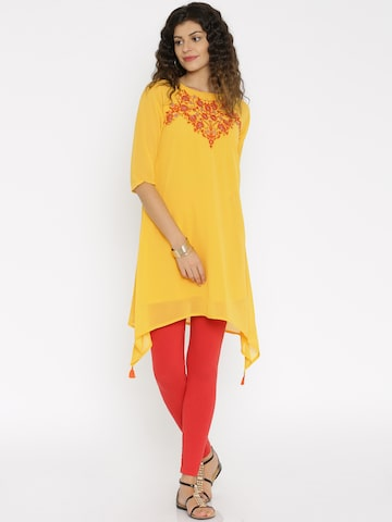 Global Desi Yellow Embroidered Tunic at myntra
