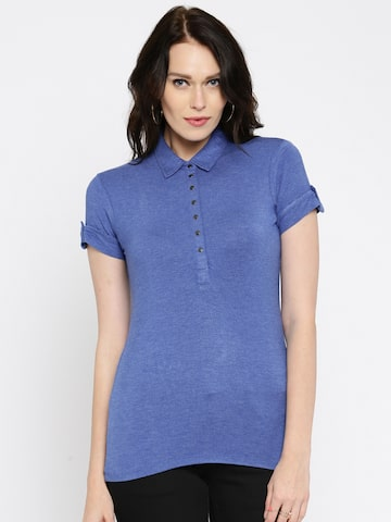 Being Human Clothing Women Blue Solid Polo T-shirt at myntra