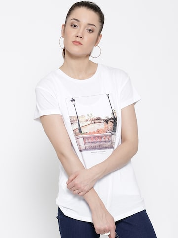 MANGO Women White Printed Round Neck T-shirt at myntra