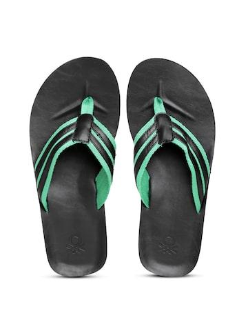 United Colors of Benetton Men Black & Green Striped Flip-Flops at myntra