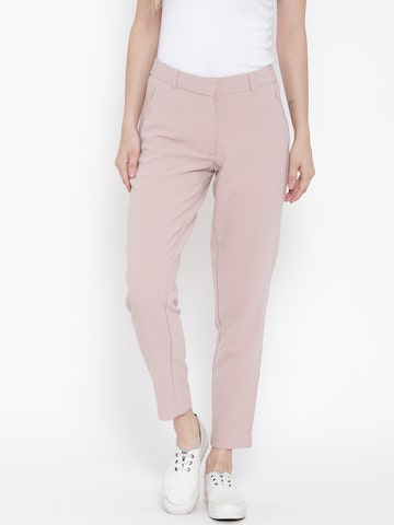 Vero Moda Women Dusty Pink Solid Flat-Front Trousers at myntra