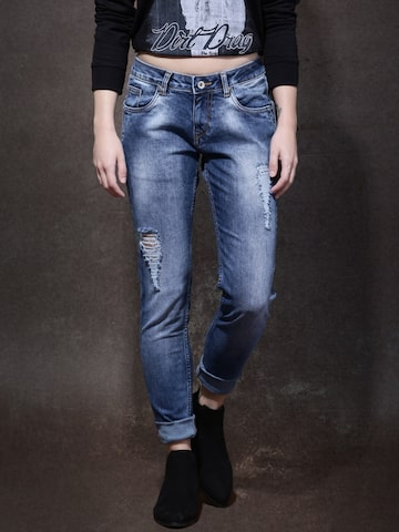 Roadster Women Blue Skinny Fit Mid Rise Mildly Distressed Jeans at myntra