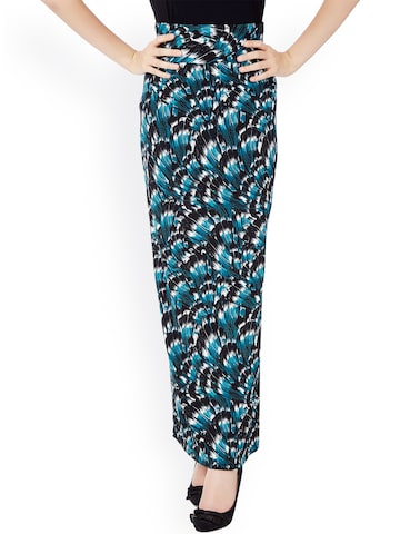 Avirate Black & Blue Printed Polyester Maxi Skirt at myntra